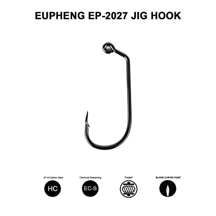 Eupheng EP-2027 20pcs/Pack Fishing Jig Hook Plus Blood Groove Point  O'Shaughnessy Jig Hook, Long Point Long Shank Easy Fits All Type Baits