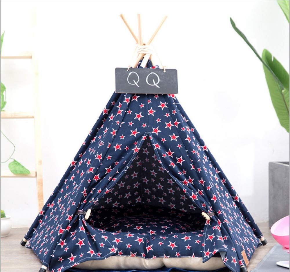 C L(60X60X70CM)GZDXHN Pet tent nest cat kennel cotton canvas small tent winter warm pet nest sleeping mat