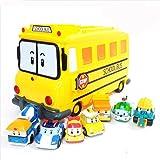 Robocar Poli School Bi Diecast Figures Carrier Yellow Bus with 7 pcs of Roboca Poli Diecasts & JISMA TRADE Toy Sanitizer 30ml Robocar Poli School Bi Diecast Figureロボカポリダイキャスト&JISMAトレードサニタイザー30ml [並行輸入]