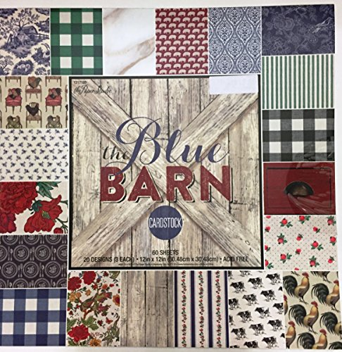 The Blue Barn 12x12 Scrapbooking Cardstock Paper Pad, Floral, Vintage, Barnwood, Farmhouse 60 sheets