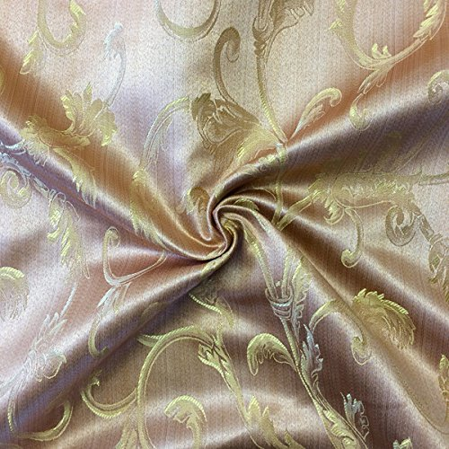 Jacquard Damask Vine Brocade Fabric 118'' Wide (Pink Gold)