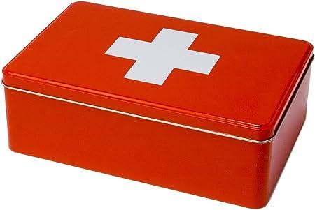 Caja lata Botiquin metal rojo 20,2X13,2X6,7 Cm: Amazon.es: Hogar