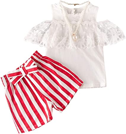 3PCS Toddler Baby Girl Holiday Summer T-shirt Crop Top Shorts Outfit Set Clothes