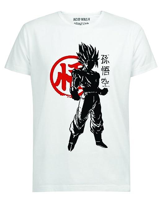 6f7f3984 ACID WASH Dragon Ball Z Goku Warrior Symbol T-Shirt: Amazon.co.uk: Clothing
