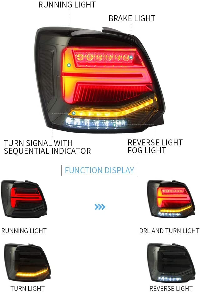 VLAND LHD LED Rear Light for Polo 6R 6C 2009-2018 Tail Lights With Sequential