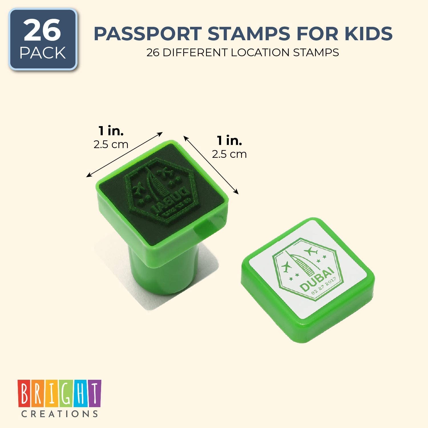 Cities of The World, 26 Pieces Bright Creations Passport Stamps for Kids