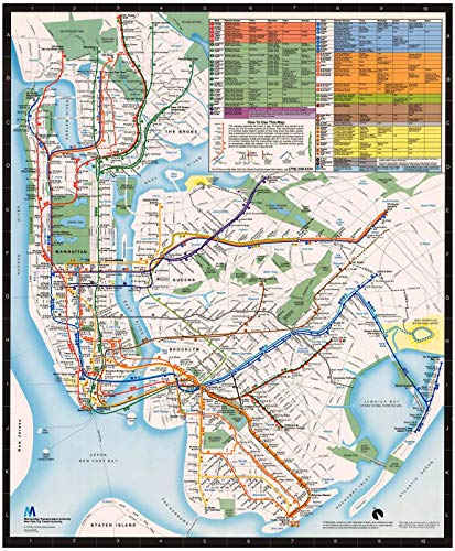 Historic Pictoric Map | New York City Transit Maps, New York City Subway Map 1985 Railroad Cartography | Vintage Poster Art Reproduction | 24in x ()
