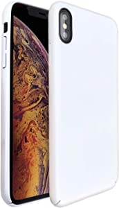 "Molzar [Shiny Series] iPhone Xs Max Case, UV Glossy Finish Grip, Hard Plastic PC with Soft Microfiber Cloth Lining Cushion, Compatible with Apple iPhone Xs Max, 6.5"", White"