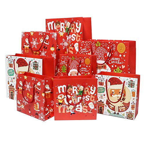 4 Pattern Small & Medium Size Sturdy Christmas Gift Bags, 8 (Christmas Wishes Gift Bag)