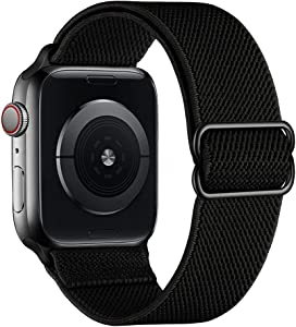 SIRUIBO Stretchy Nylon Solo Loop Bands Compatible with Apple Watch 42mm 44mm, Adjustable Stretch Braided Sport Elastics Women Men Strap Compatible with iWatch Series 6/5/4/3/2/1 SE, Black