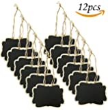 12pcs Mini Hanging Wooden Chalkboards Erasable Double Sided Blackboard with String for Message Board Signs Party Labels Wedding