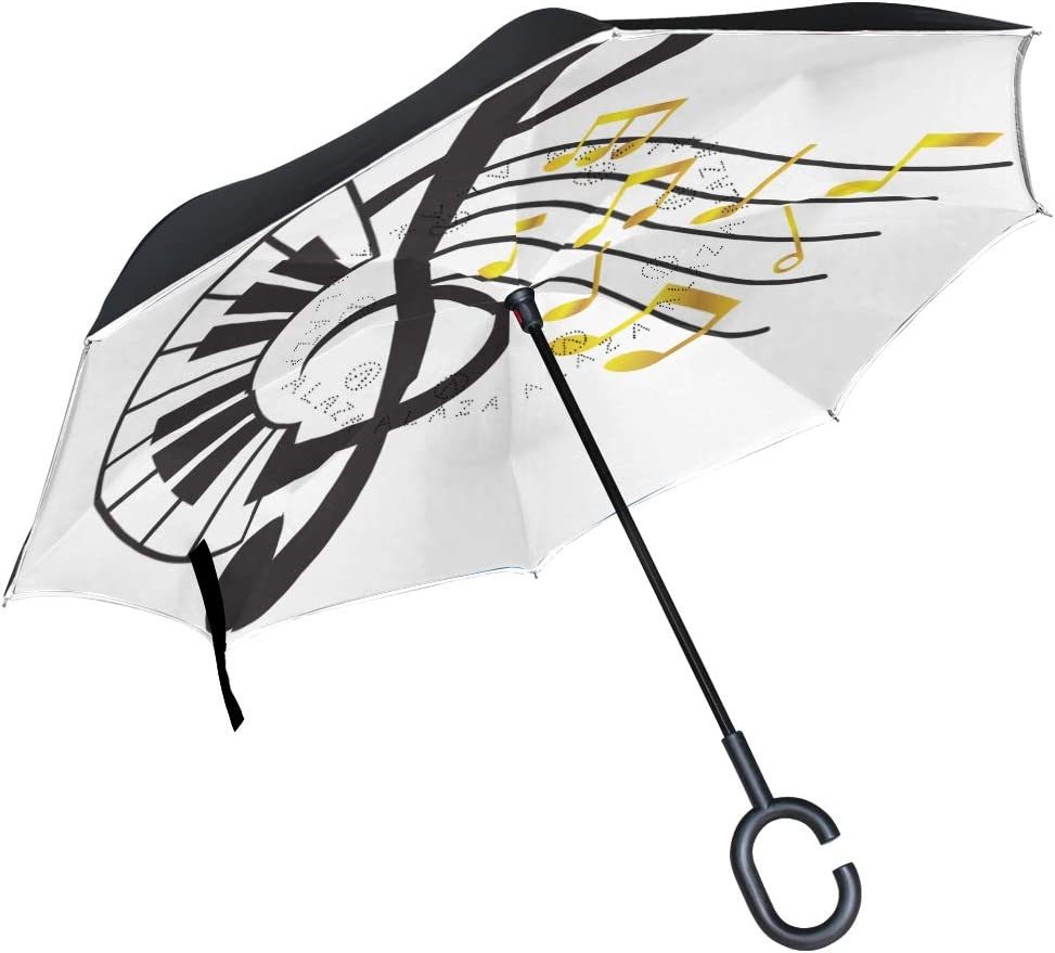 Piano Treble Clef With Music Note Double Layer Windproof UV Protection Reverse Umbrella With C-Shaped Handle Upside-Down Inverted Umbrella For Car Rain Outdoor