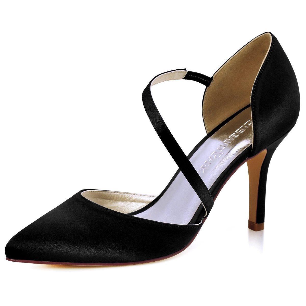 ElegantPark HC1711 punta estrecha de las mujeres tacones de aguja zapatos de tacón alto correas boda fiesta de graduación zapatos de novia 37 EU|Negro
