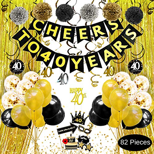 40th Birthday Decorations for Men Women - Cheers to 40 Years Banner, Gold Black Silver Pom Poms, Hanging Swirls, Cake Topper, Photo Props, Backdrop, Balloons, Confetti, 40th Anniversary - Hanging Cake