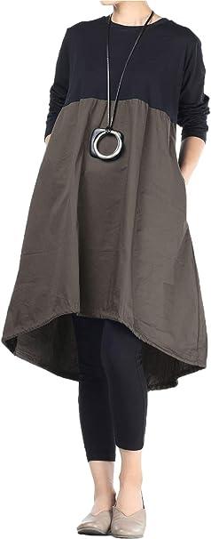 Ziegelrot Damen Kleid Fall Sommer Lockere Bluse Langärmelig Boho Leinen Modisch