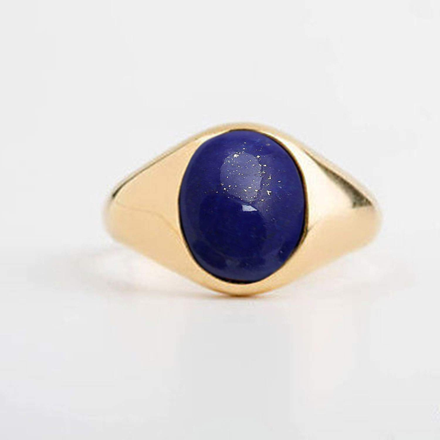 Natural Deep Blue Afghani Lapis Lazulie Ring Genuine Gemstone Mans Statement Ring Solid 925 Silver Ring Vermeil Yellow Gold Ring Oval Cab Gemstone Ring Handcrafted Ring Mens Gemstone Jewelry