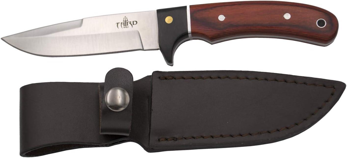 THIRD Cuchillo de Caza 12051PW, con Hoja de Acero 440 de 10,6 cm Acabado Satinado, Mango de pakkawood y Madera Negra. Incluye Funda de Piel.