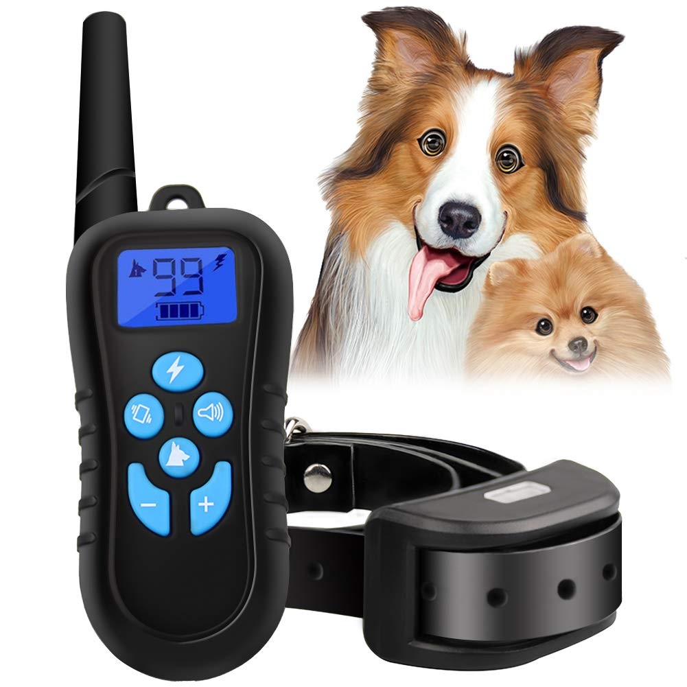 Dog Shock Collar with Remote Rechargeable 100% IPX7 Waterproof for Small Medium Large Dogs 500 Yards Shock Collar for Dogs Vibration Beep Shock Light Modes Dog Training Collar