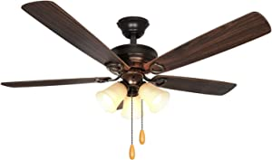 52 Inch LED Indoor Oil-Rubbed Bronze Ceiling Fan with Light Kit (Bulb included), 3 Lights Ceiling Fan with Reversible Blades & Pull Chains for Living room, Bedroom, Kitchen, Garage, ETL Listed