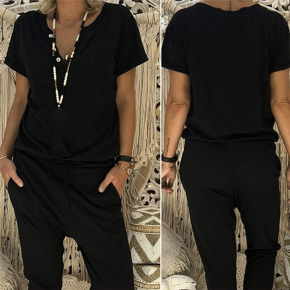 Women V Neck Sashes Casual Jumpsuit Summer Button Loose Long Pants Casual Rompers with Pockets Big Size 5XL,Black,S,United States
