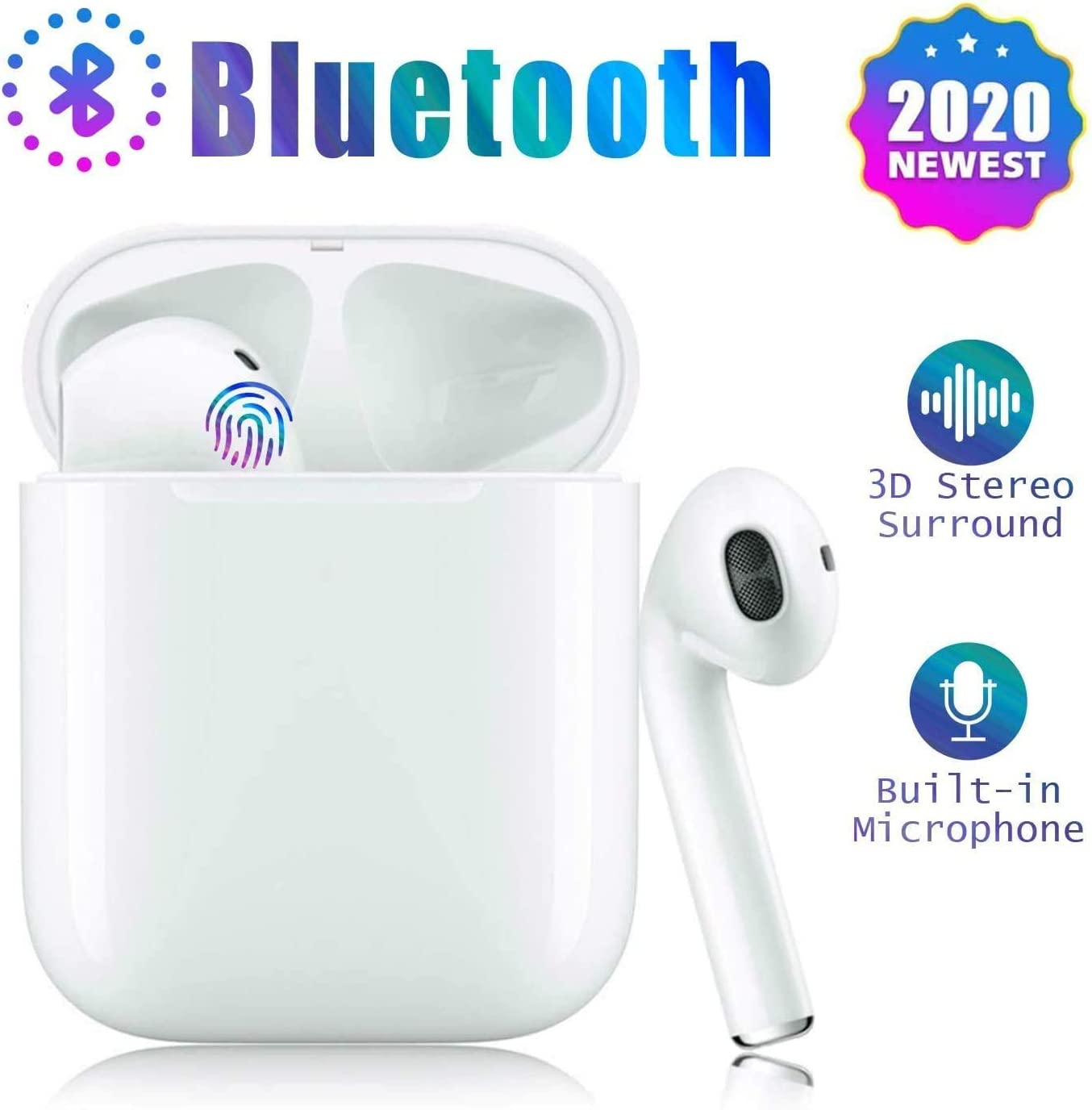 Auriculares inalámbricos,Auriculares Bluetooth 5.0,Bluetooth Deporte con Micrófono Reducción de Ruido CVC 8.0 Cascos,Auriculares Inalambricos Bluetooth para Apple AirPods iPhone/Samsung/Android
