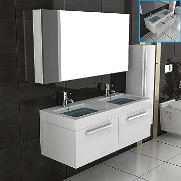 Doppel Waschtisch Badmöbel Set mit Spiegelschrank Weiss hochglanz ...