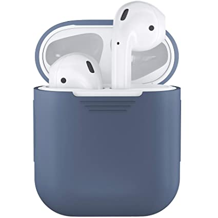 purchase cheap cdf03 3103b PodSkinz AirPods Case Protective Silicone Cover and Skin Compatible with  Apple Airpods 1 & AirPods 2 [Front LED Not Visible] (Cobalt Blue)