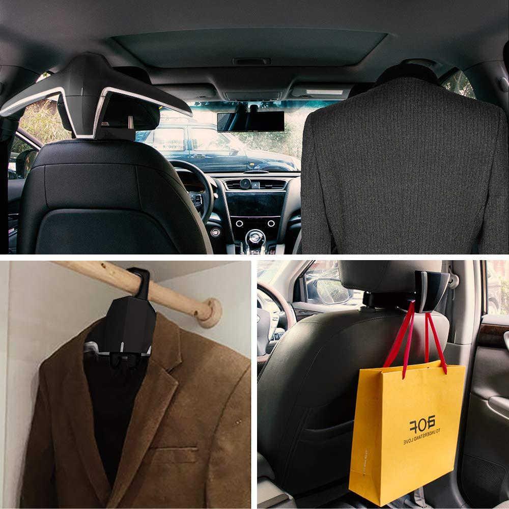 KOLLIEE Car Coat Hanger Headrest Back Seat Coat Hanger Multifunctional Car Hanger for Coat Suit Jacket