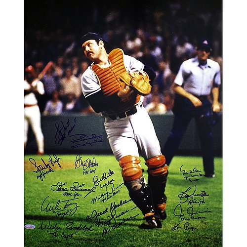 1978 Yankees Multi Autographed Thurman Munson Color 16x20 Photo Autographed by Ken Reagan (13 Sigs) - MLB Authentication (Torrez Lyle Gossage Dent Jackson Randolph Rivers Chambliss White Nettles Blair Piniella Guidry) - Authentic Signed Autograph