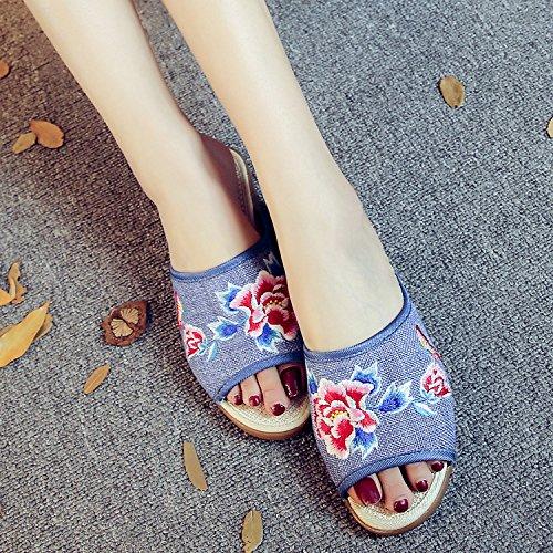 WXT Peony zapatos bordados, lenguado de tendón, estilo étnico, flip flop femenino, moda, cómodo, sandalias denim blue