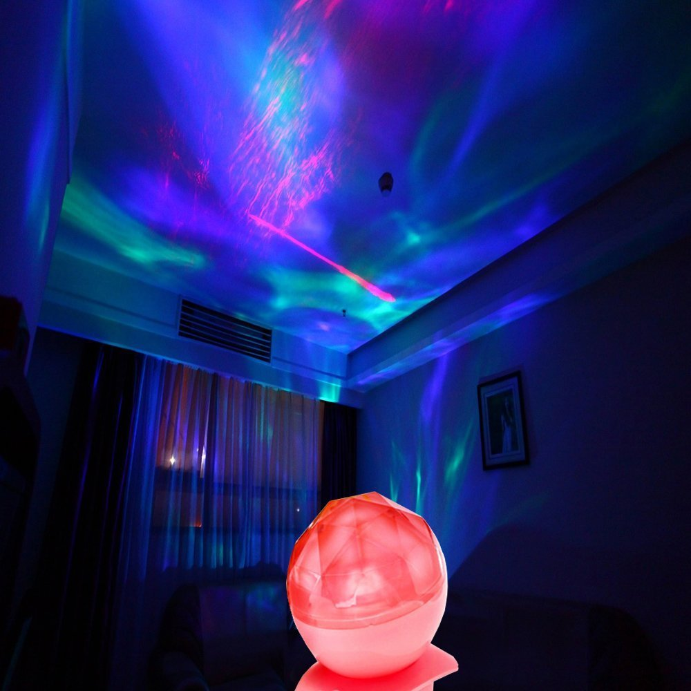 Aurora Borealis Projection Night Light Diamond Style Color Changing Sea Star Projector Light with Bulit in Speaker and Audio Cable for Bedroom Living Room As Decorative Lighting Fding BeHI1