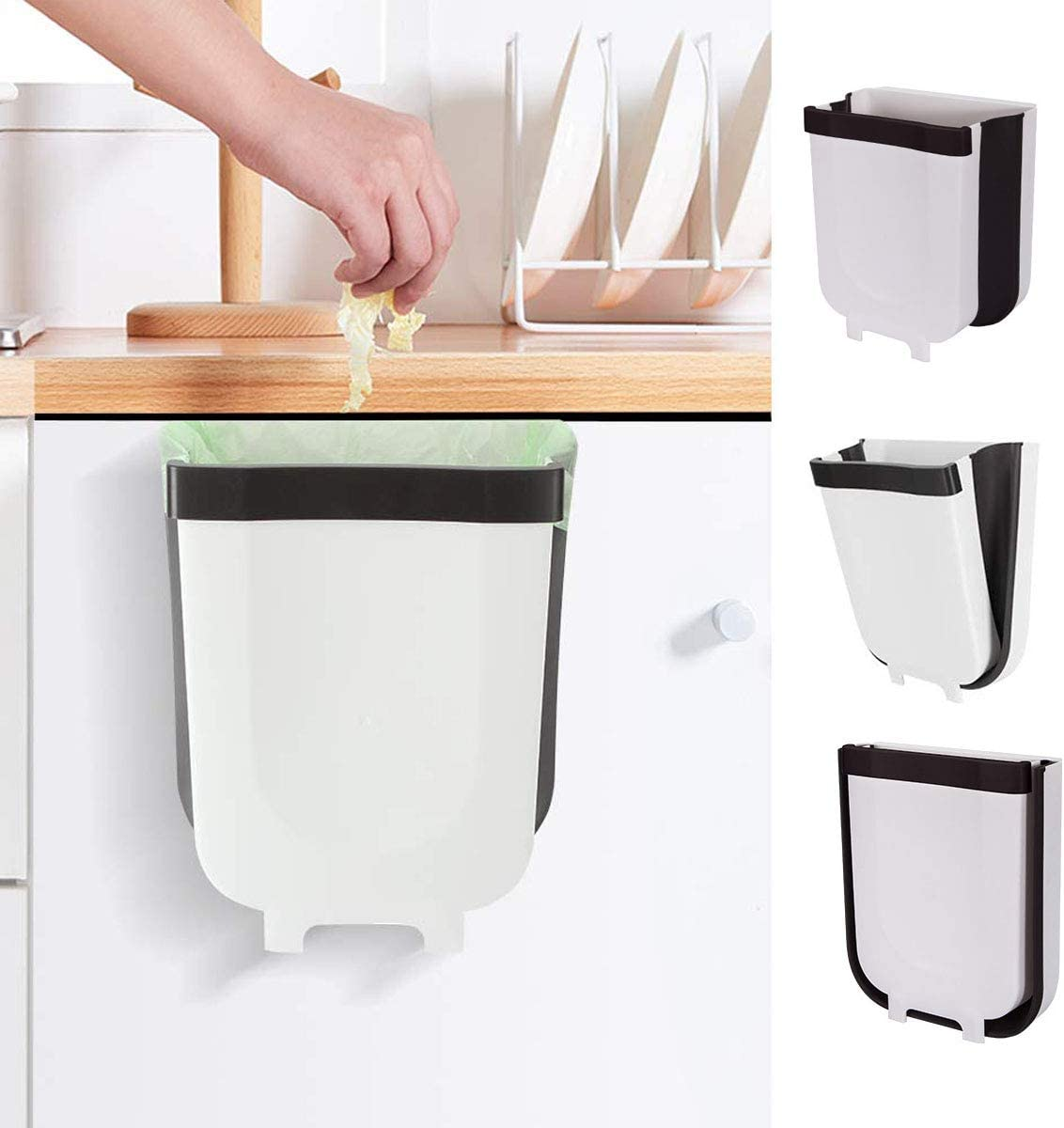 Kitchen Hanging Trash Can, Collapsible Trash Bin Small Compact Garbage Can Attached to Cabinet Door Kitchen Drawer Bedroom Dorm Room Car Waste Bin - 9L/2.3 Gallon (White)