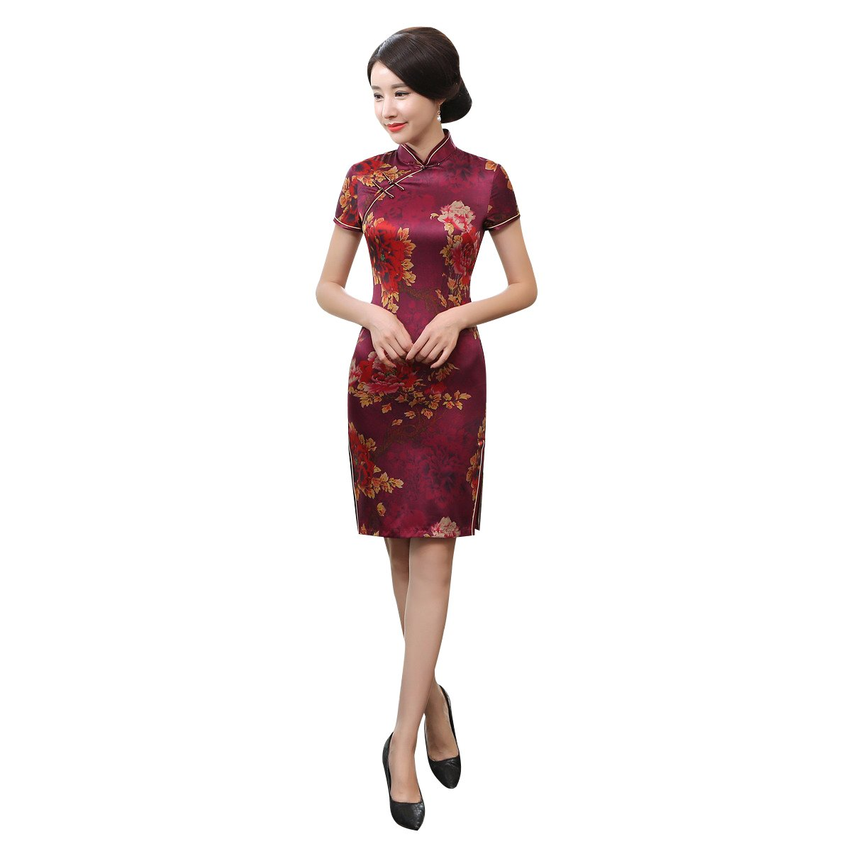 ACVIP Women Short Sleeve Floral Vintage Chinese Slim Short Qipao Cheongsam (China 2XL/Bust:37.0'')