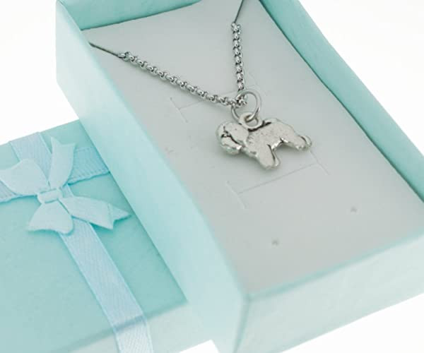 Pewter Bichon Charm Necklace