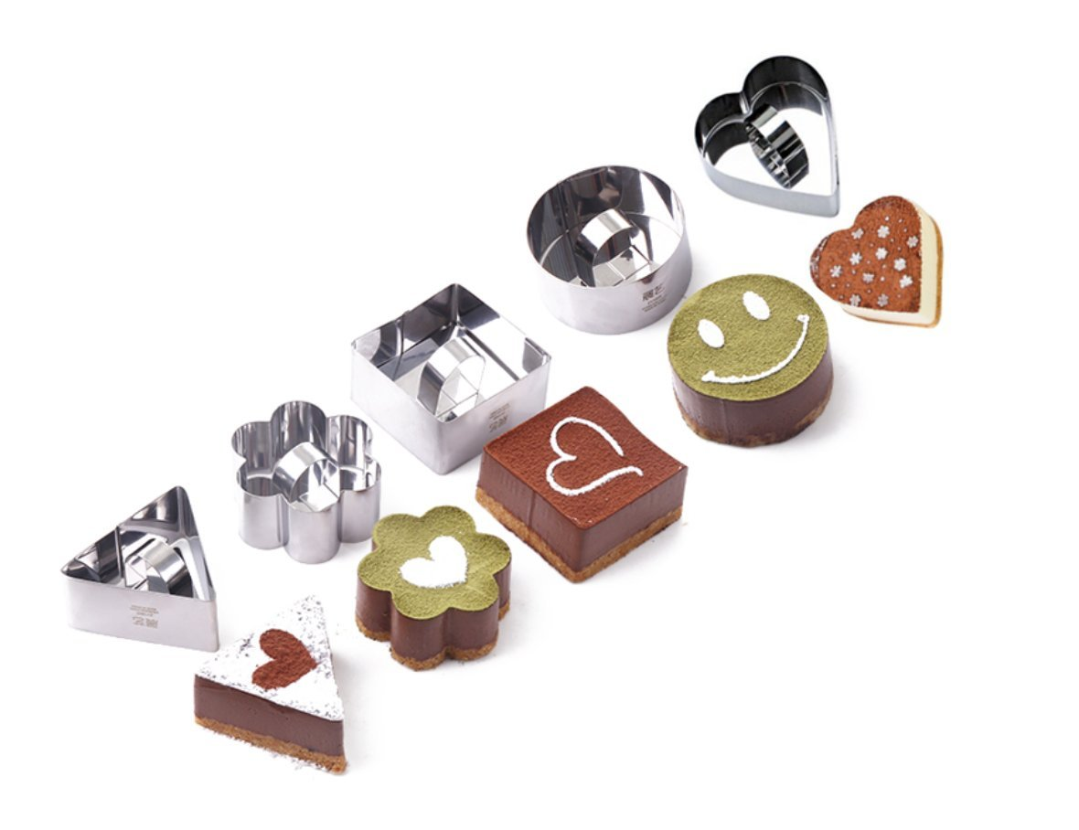 Stainless Cake Ring Mold, Haranges Mini Baking Molds with Pusher for Making Desserts Pack of 5