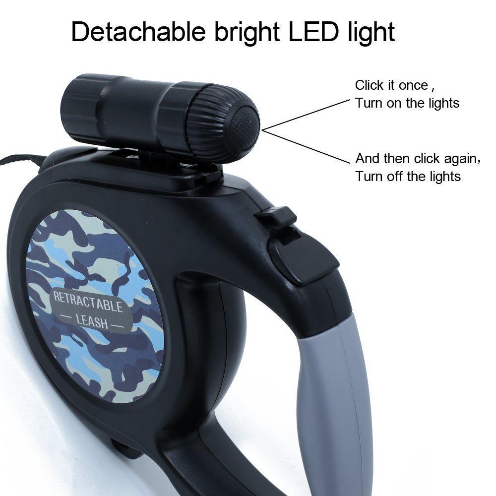 Dog Leash - 15ft One Button Break & Lock Retractable Dog Leash,With a LED Flashlight & Garbage Bags,Black - [ DAGO-Mart Quality Guarantee ] VEEWEP-1863