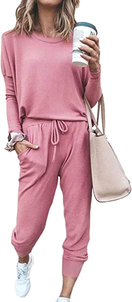 Meenew Women's 2 Piece Sport Outfits Long Sleeve Tops and Pants Set Tracksuits