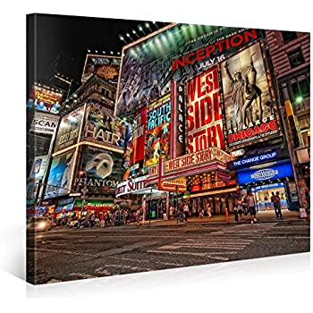 Large Canvas Print Wall Art – MUSICAL BROADWAY – 40x30 Inch New York Cityscape Canvas Picture Stretched On A Wooden Frame – Giclee Canvas Printing – Hanging Wall Deco Picture / e6121