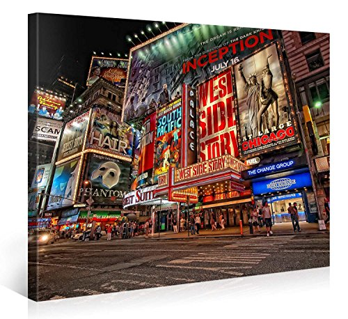 Large Canvas Print Wall Art – MUSICAL BROADWAY – 40x30 Inch New York Cityscape Canvas Picture Stretched On A Wooden Frame – Giclee Canvas Printing – Hanging Wall Deco Picture / e6121 ()