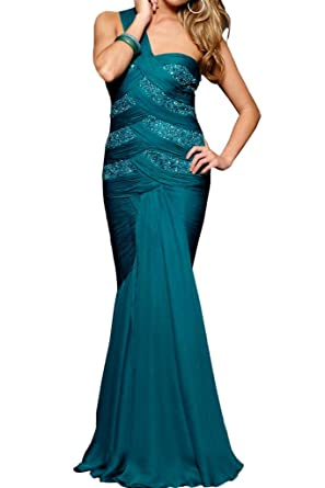 Amazon.com: Charm Bridal Long Pleated 1 Shoulder Women Evening Prom Dresses with Crystal: Clothing