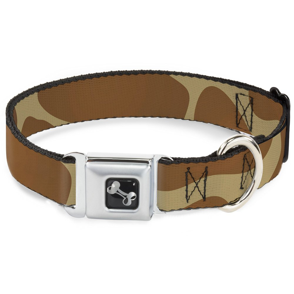 Buckle-Down Seatbelt Buckle Dog Collar Giraffe Spots Tan Brown 1  Wide Fits 9-15  Neck Small