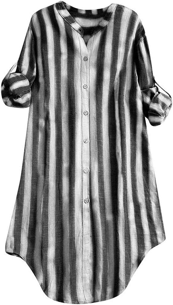 Camisa Mujer 2019 Ropa de Mujer Elegante Manga Larga a Rayas Solapa con Cuello en v Manga Larga Parte Superior Suelta