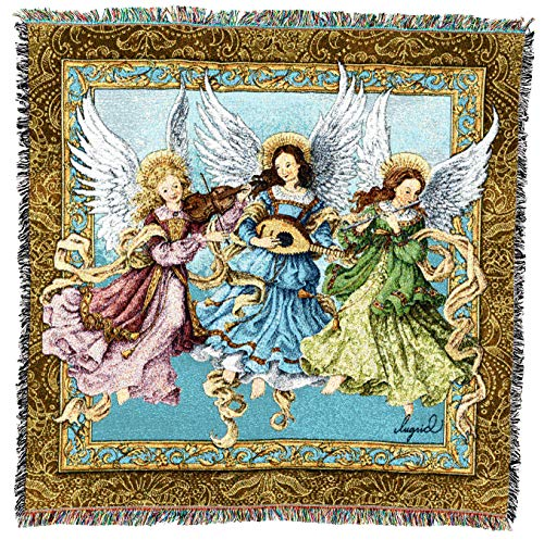 Pure Country Weavers   Angelic Trio Woven Throw Blanket with Fringe Cotton USA 54x54