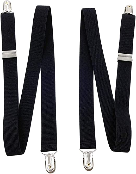 SupSuspen Mens Y Shape Elastic Suspenders 1.4 Width Heavy Duty /&6 Leather Clips