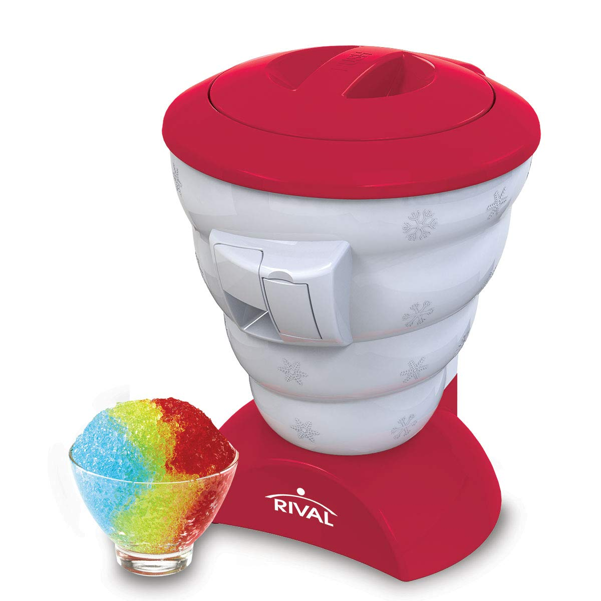 Rival Blizzard Flavored Ice Shaver Snow Cone Maker, Red (Certified Refurbished) by Rival