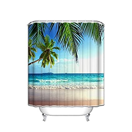 Image Unavailable Not Available For Color Vandarllin Palms Ocean Tropical Beach Theme Shower Curtain