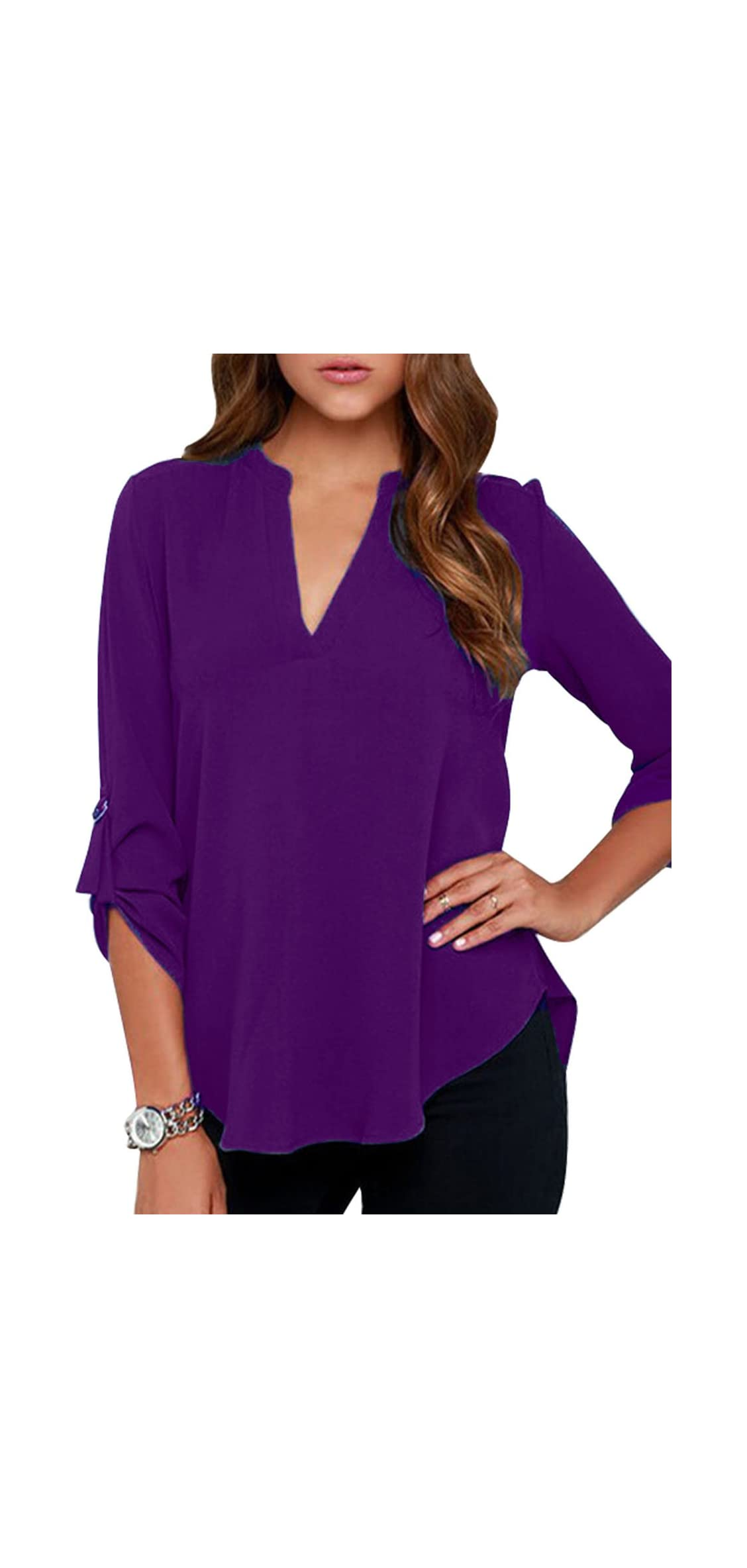 Women's Chiffon Blouses Solid Loose Shirt Casual Pullover