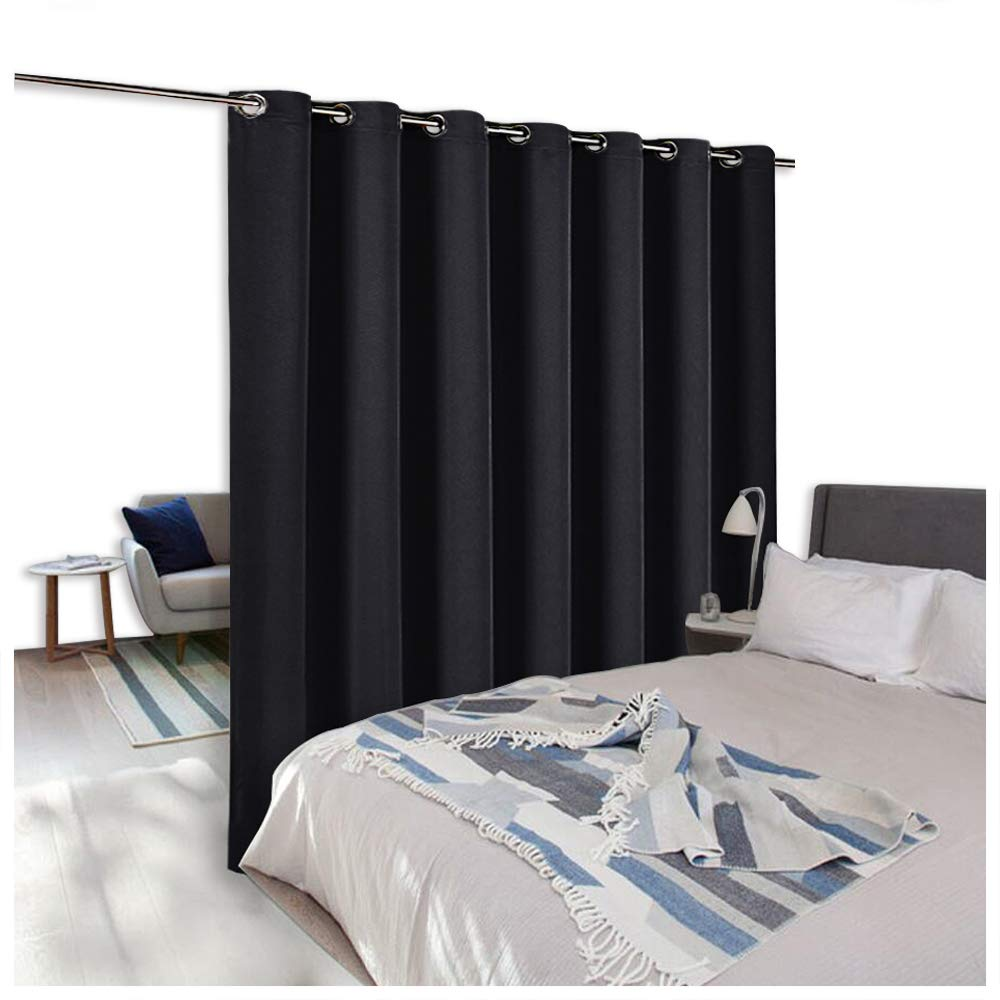 NICETOWN Room Divider Curtain Screen Partitions, Blackout Wide Width Window Treatment, Blackout Curtain Panel for Glass Window/Sliding Door/Patio (One Panel, 7ft Tall x 8.3ft Wide, Black)