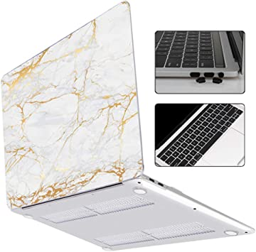 New White Marble Rubberized Matte Case Cover For 2016 2018 Macbook Pro 13.3/""