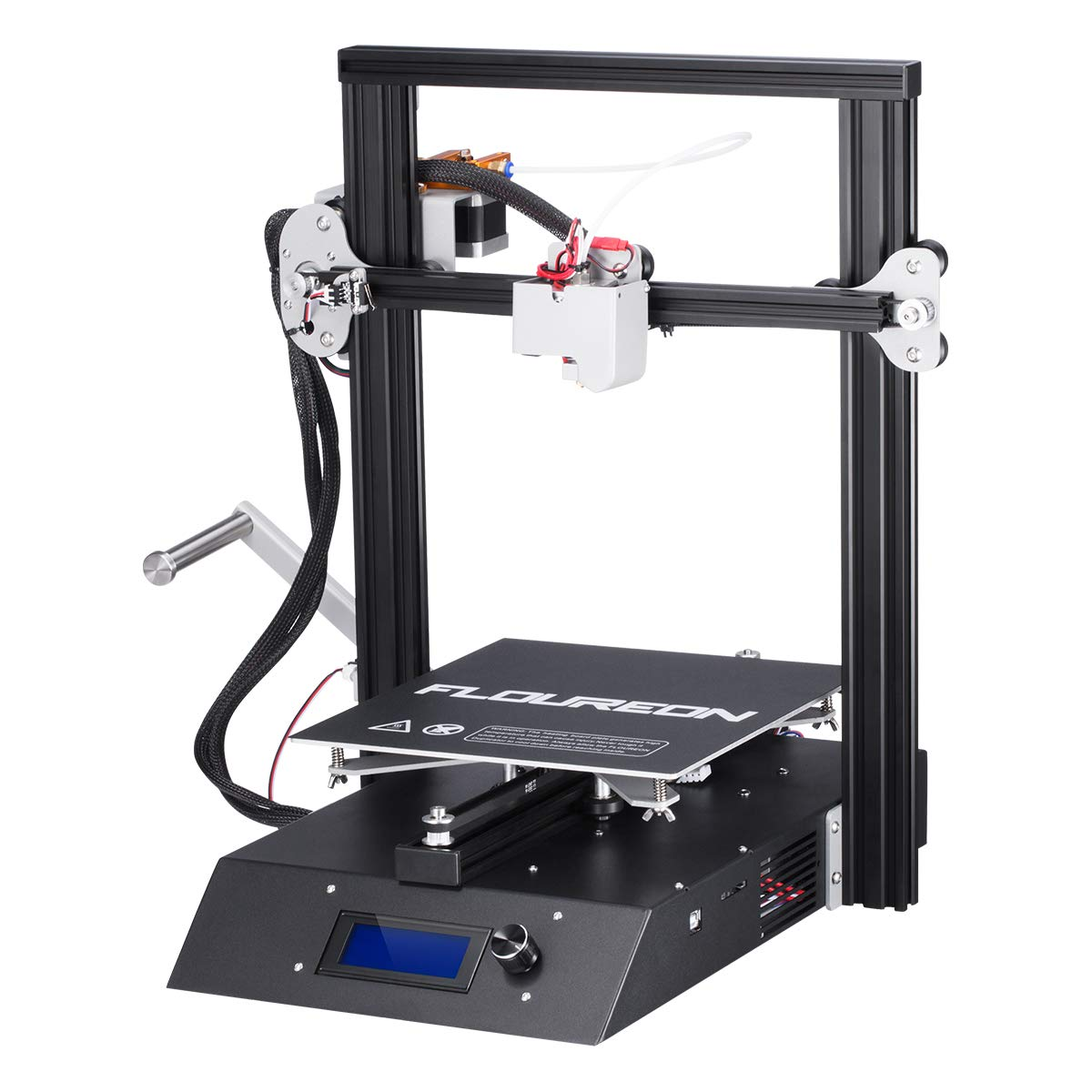 FLOUREON 3D Printer DIY Kit XYZ 3D Printer Ender 3 with 3D Printer Filament LCD Display Full Metal Frame 3.7 Inch Touch Screen Large Print Size Works with PLA, ABS, HIPS, WOOD